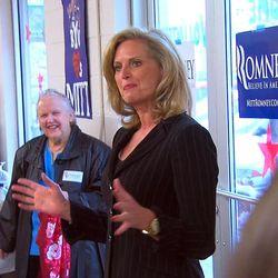 Anne Romney, wife of presidential candidate Mitt Romney, speaks Friday, Dec. 2, 2011 at the Utah Romeny presidential headquarters.