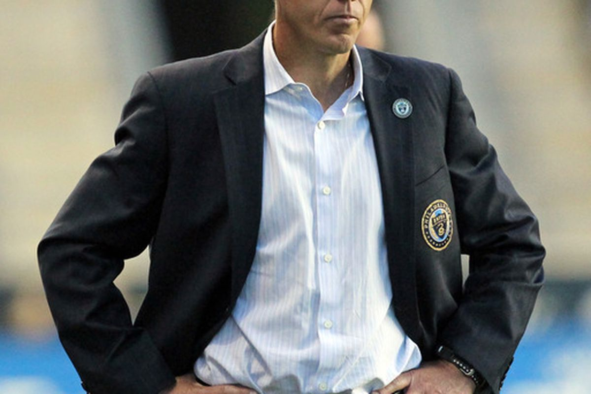 CHESTER, PA - JUNE 16: Interim head coach John Hackworth of the Philadelphia Union stands on the sideline during a game against DC United at PPL Park on June 16, 2012 in Chester, Pennsylvania. The United won 1-0. (Photo by Hunter Martin/Getty Images)