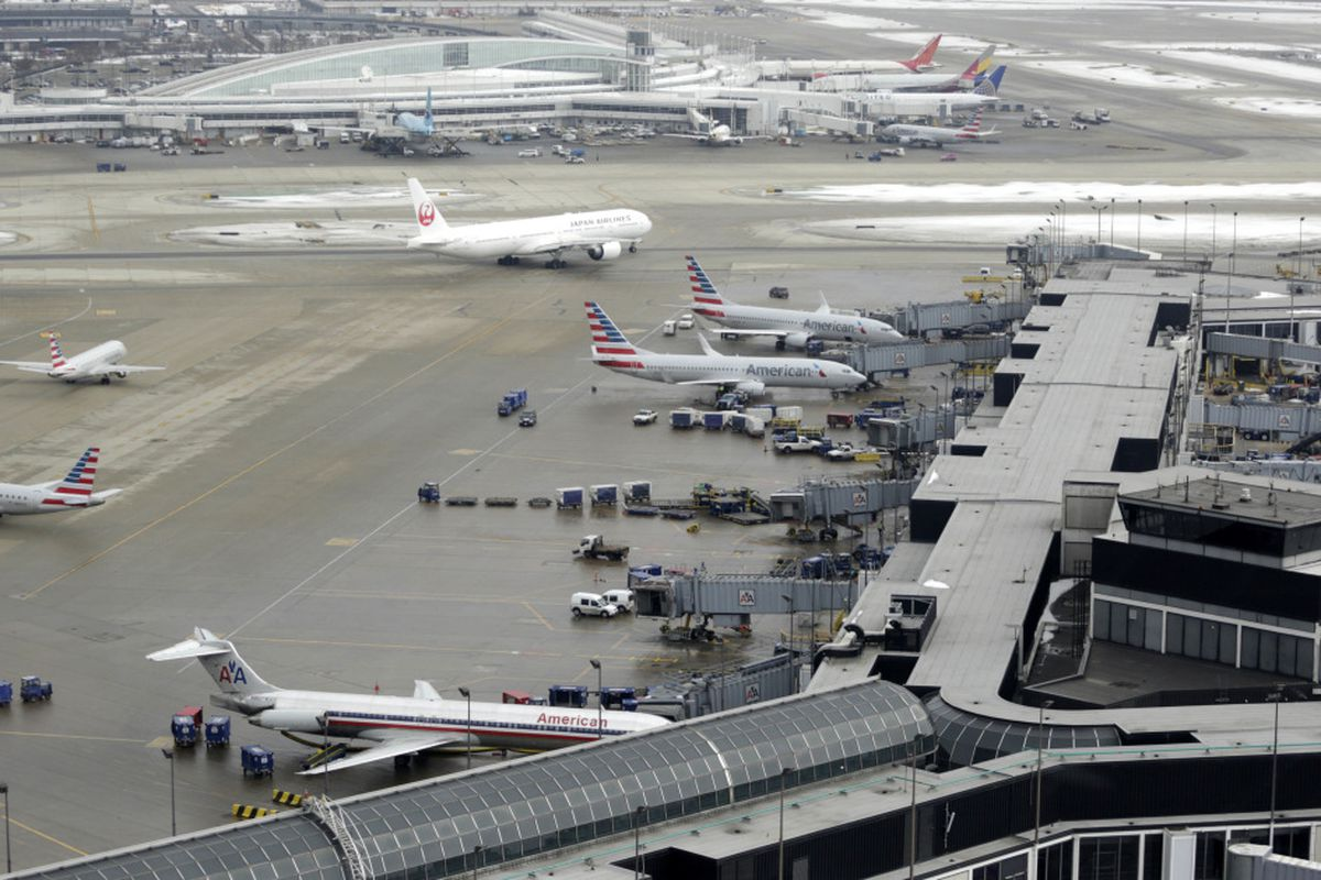 Ground traffic is seen from the control tower at O'Hare International Airport in 2015.