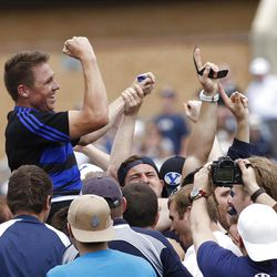 Game MVP Jonny Linehan is lifted by the crowd as they celebrate as BYU defeats Cal 27-24 in rugby on a drop as time expires to win the Varsity Cup national championship Saturday, May 4, 2013, in Provo.