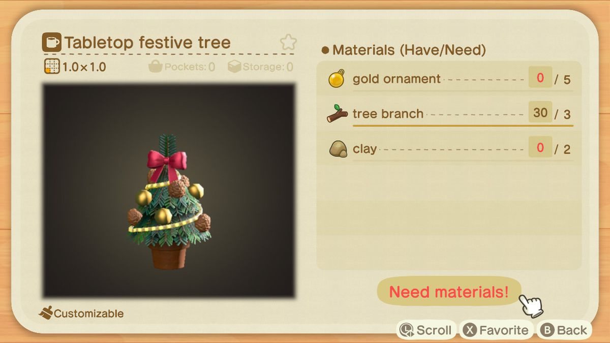 An Animal Crossing recipe for a Tabletop Festive Tree