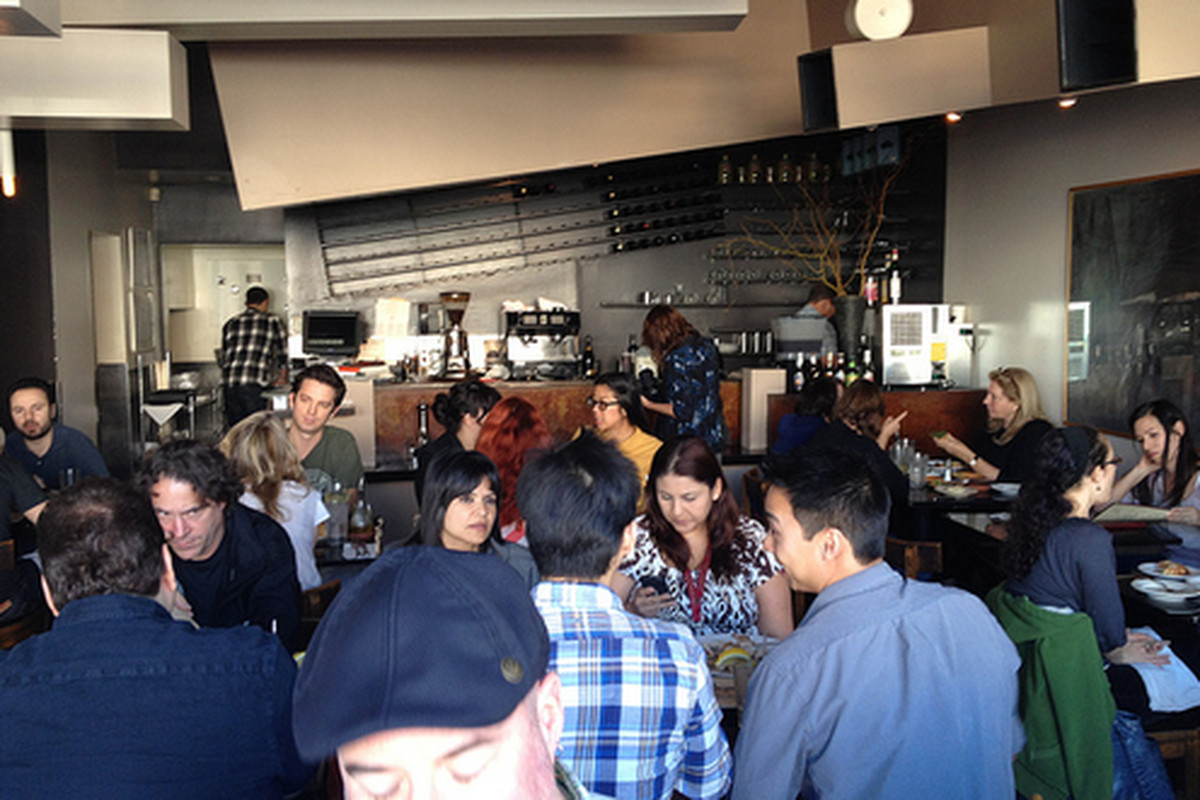 """A packed house at the now <a href=""""http://la.eater.com/archives/2011/12/29/evan_kleiman_to_shutter_angeli_caffe_on_january_8.php"""">shuttered</a> Angeli Caffe, Mid-City."""