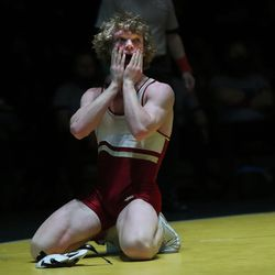 Karson Rees of Viewmont reacts wins after winning the 132-pound championship during 5A boys wrestling at Wasatch High in Heber on Thursday, Feb. 18, 2021.