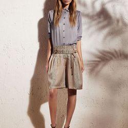 Classic button-down shirt, $48; Drawstring shorts, $48