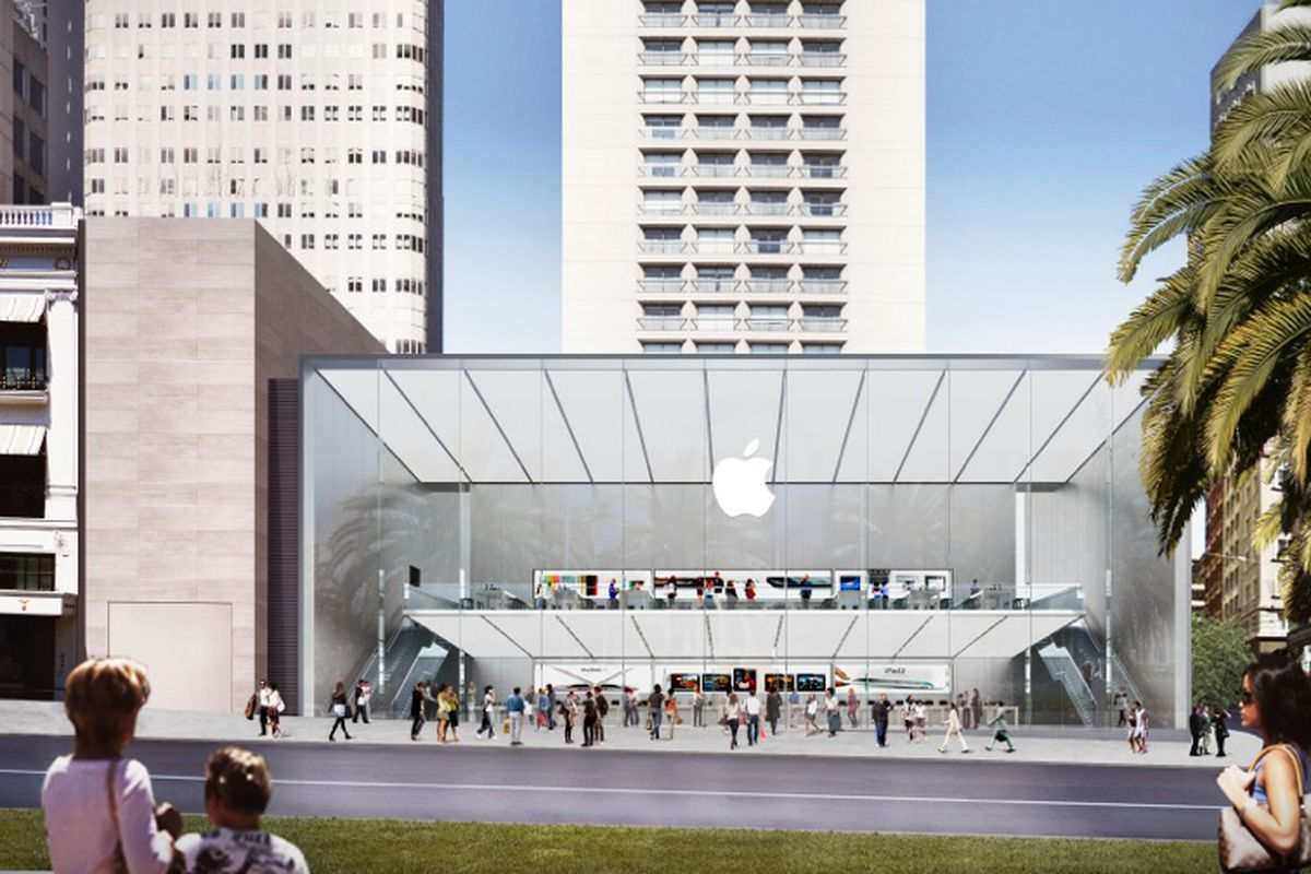 """Rendering of the new Apple store via <a href=""""http://www.fosterandpartners.com/"""">Foster + Partners</a>"""