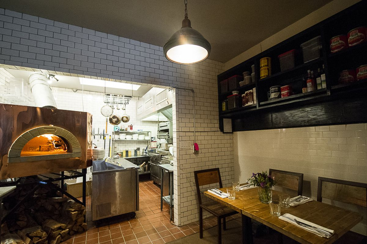 [The oven/dining room at Emily. Great place for pizza on a chilly Thursday night.]