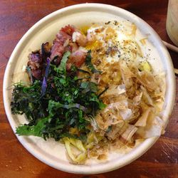 """Smoky Bacon, Poached Egg and Kale Mazemen from the Yuji Ramen Test Kitchen at Smorgasburg at Whole Foods by <a href=""""http://www.flickr.com/photos/polsia/8619827955/in/pool-eater"""">Polsia</a>"""