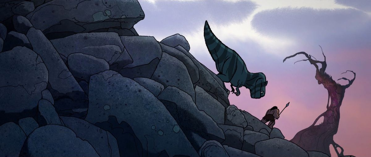 Spear the caveman and Fang the T-Rex walk across a rocky mountain with a tree in the distance in Primal