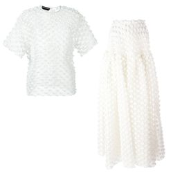 This appliqué texture steps a simple skirt and silk tee up a notch for the special day.