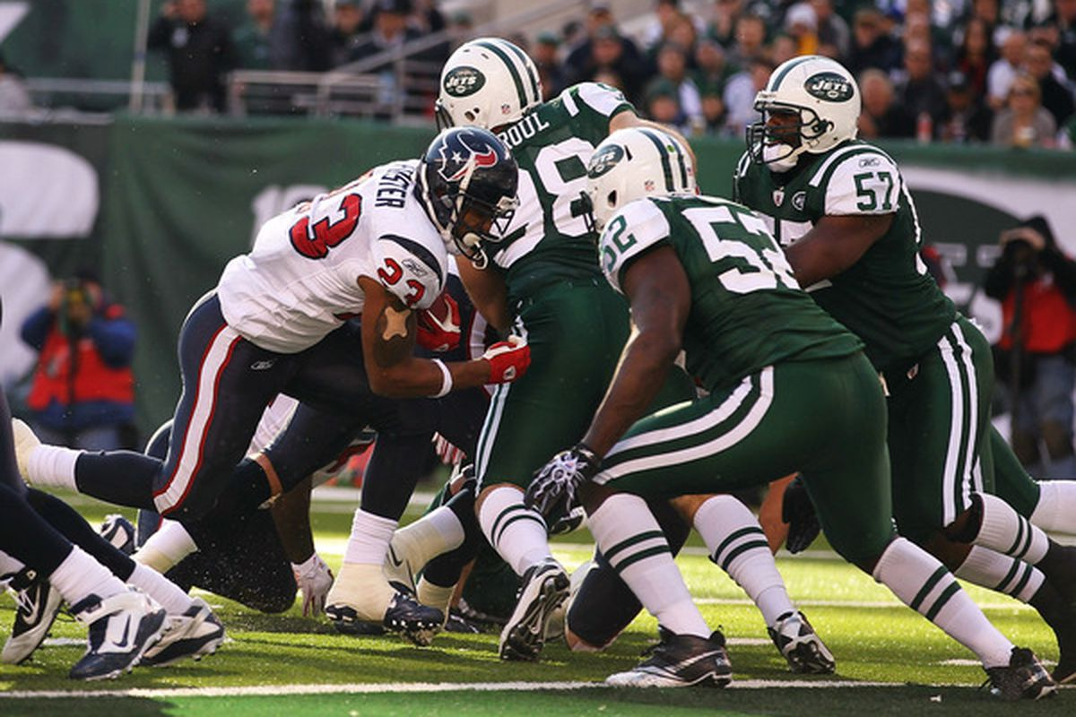 EAST RUTHERFORD NJ - NOVEMBER 21:  Arian Foster #23 of the Houston Texans scores a touchdown against  the New York Jets on November 21 2010 at the New Meadowlands Stadium  in East Rutherford New Jersey.  (Photo by Al Bello/Getty Images)