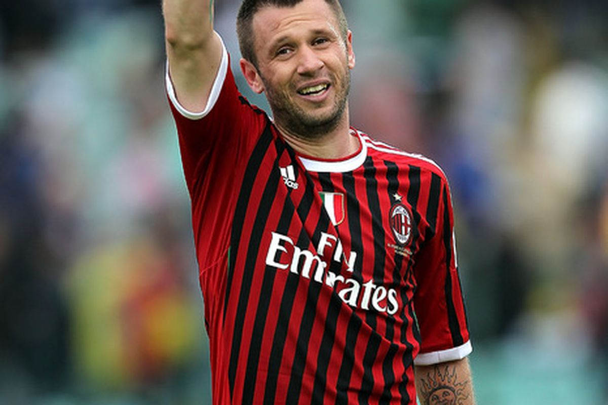 SIENA, ITALY - APRIL 29: Antonio Cassano of AC Milan celebrates victory at the end of the Serie A match between AC Siena and AC Milan at Artemio Franchi - Mps Arena Stadium on April 29, 2012 in Siena, Italy.  (Photo by Gabriele Maltinti/Getty Images)