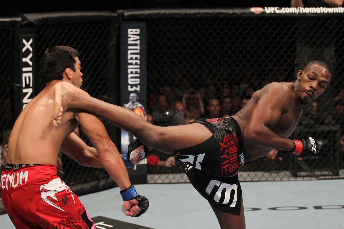 TORONTO, ON - DECEMBER 10: (R-L) Jon 'Bones' Jones kicks Lyoto Machida during the UFC 140 event at Air Canada Centre on December 10, 2011 in Toronto, Ontario, Canada. (Photo by Nick Laham/Zuffa LLC/Zuffa LLC via Getty Images)