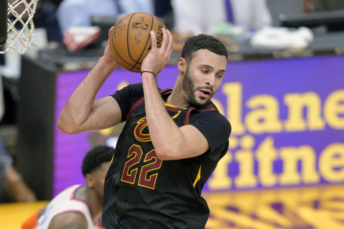Cleveland Cavaliers forward Larry Nance Jr. rebounds in the fourth quarter against the New York Knicks at Rocket Mortgage FieldHouse.