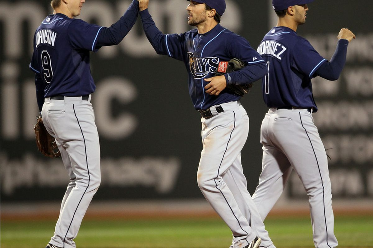 BOSTON, MA - APRIL 12:  Elliot Johnson and Sam Fuld celebrate the win over the Boston Red Sox on April 12, the second in their current winning streak. (Photo by Elsa/Getty Images)