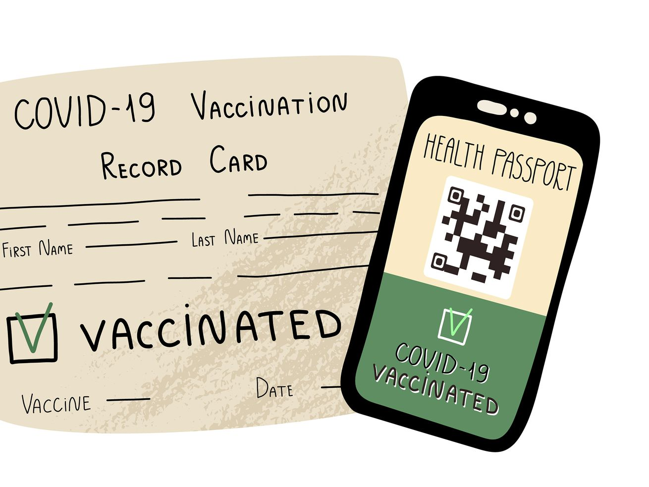 "A drawing of a vaccination card and a cellphone screen with a QR code that says ""Health passport, Covid-19 vaccinated."""