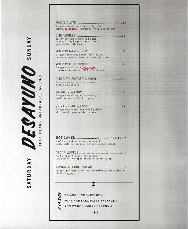 Superica breakfast menu