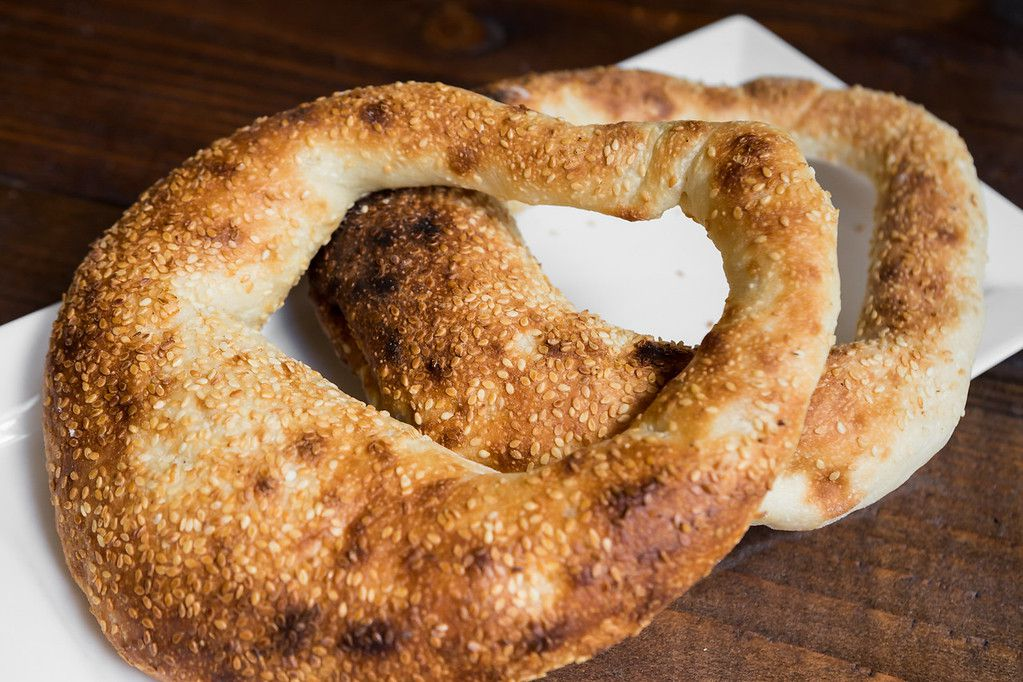 Khobz sim sim, or sesame bread loops, at Reem's