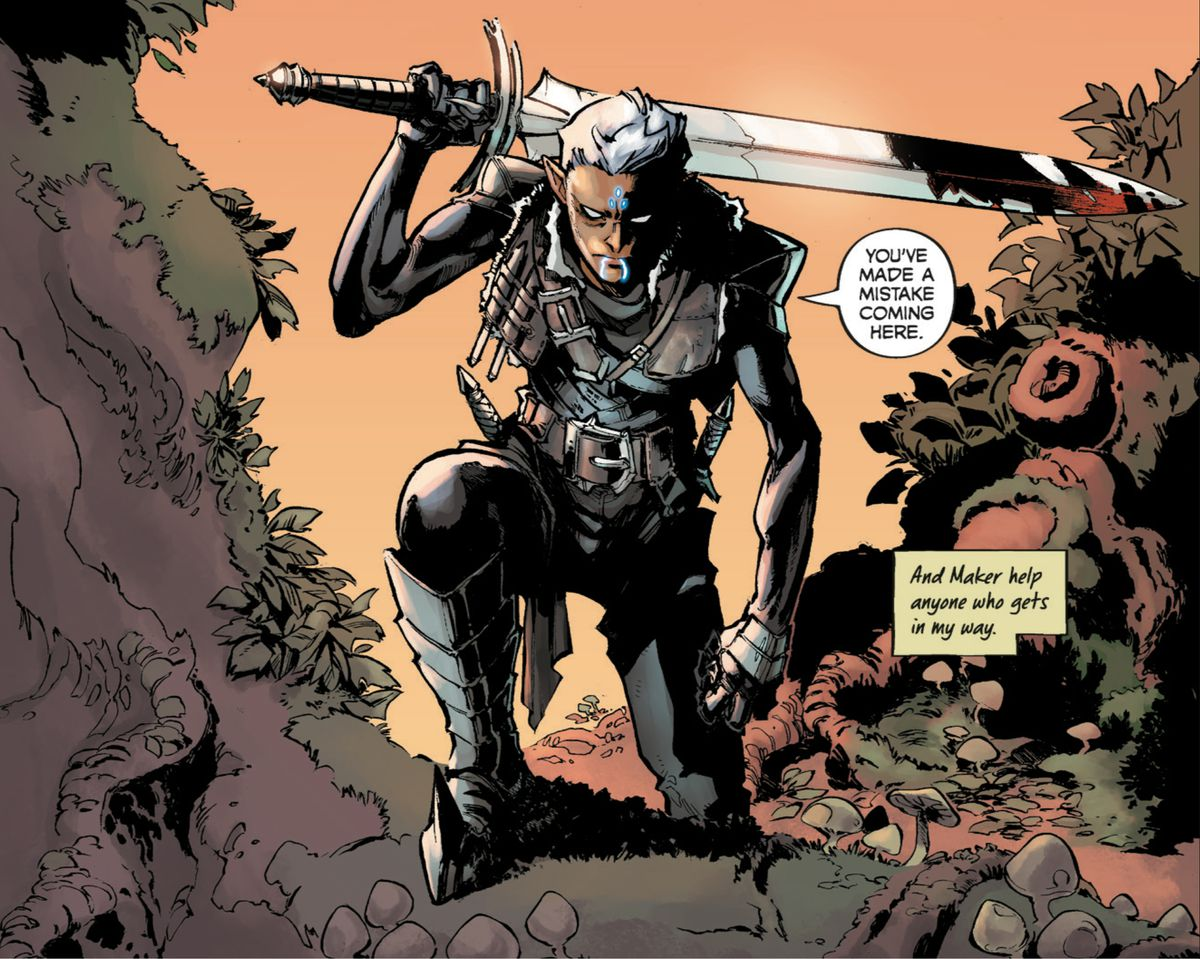 """Fenris, an elvhen warrior from BioWare's Dragon Age franchise, hefts a massive, bloody sword across his back as he ominously says """"You've made a mistake coming here,"""" in Dragon Age: Blue Wraith #1, Dark Horse Comics (2020)."""