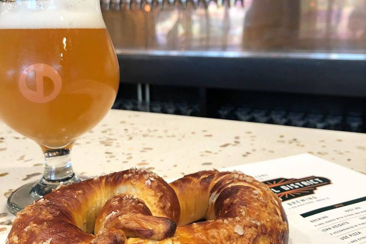 Beer and pretzel at Central District Brewing