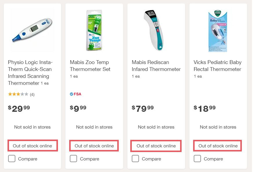"""Screenshot of a Walgreens.com thermometers search with """"out of stock"""" notations highlighted."""