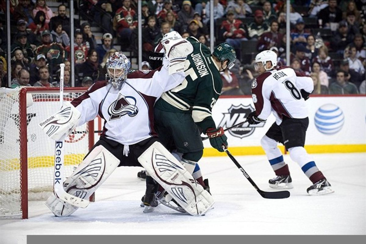 MAR 4, 2012; St. Paul, MN, USA;  Colorado Avalanche goalie Semyon Varlamov (1) attempts to clear Minnesota Wild defenseman Nick Schultz (55) from his crease in the second period at Xcel Energy Center.   Mandatory Credit: Marilyn Indahl-US PRESSWIRE