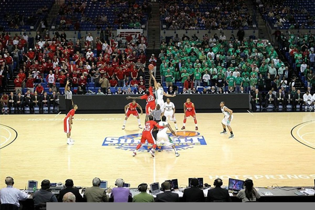 Mar 6, 2012; Hot Springs, AR, USA; North Texas Mean Green tips off against the Western Kentucky Hilltoppers during the finals of the Sun Belt Conference Tournament at the Summit Arena. Mandatory Credit: Nelson Chenault-US PRESSWIRE