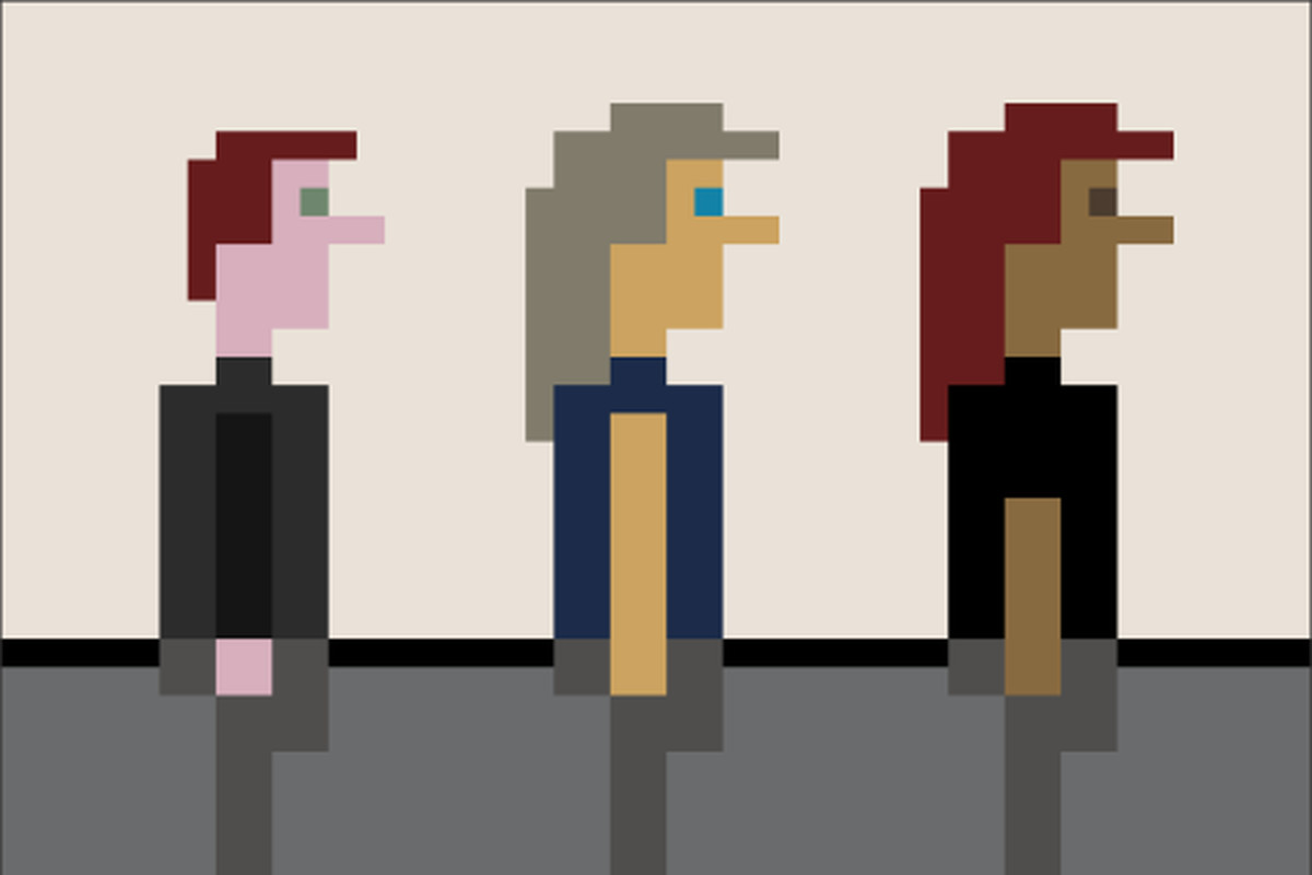 A trio of pixelated people, lined up and facing to the right
