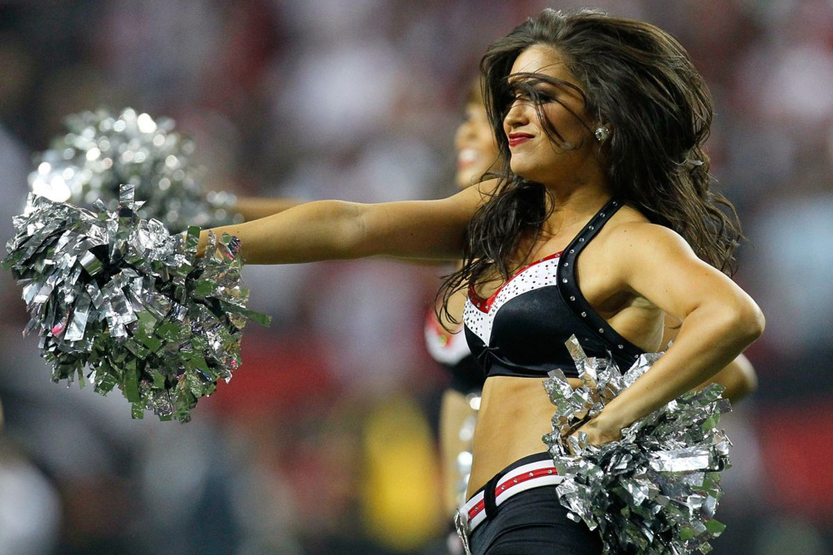 ATLANTA, GA - SEPTEMBER 18:  An Atlanta Falcons cheerleader performs during the game against the Philadelphia Eagles at Georgia Dome on September 18, 2011 in Atlanta, Georgia.  (Photo by Kevin C. Cox/Getty Images)