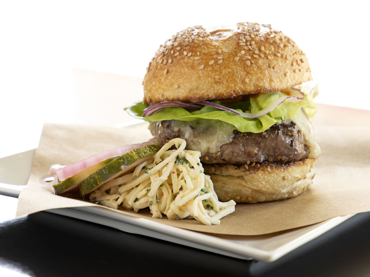 Glamour shot of a burger on a white background. There are potato strings on the side.