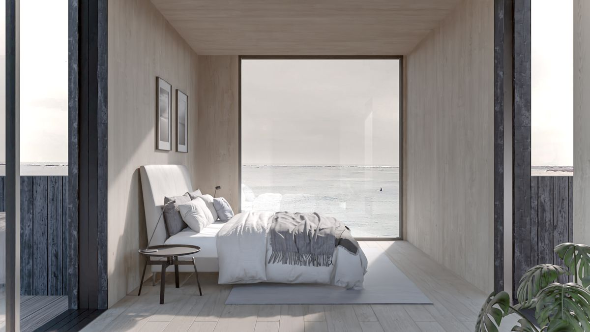 Rendering of bedroom with large window.