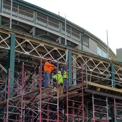 Closer view of scaffolding