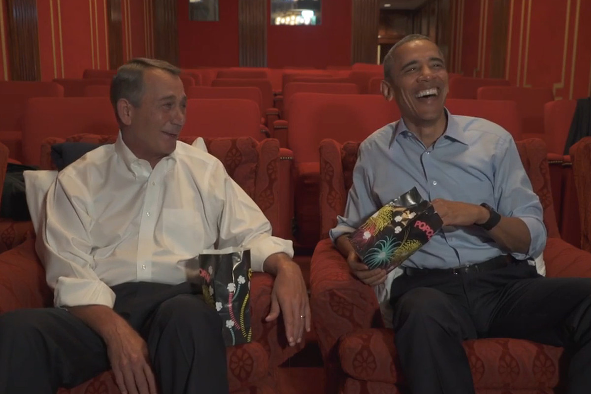 Obama and Boehner joking around in a video played during the White House Correspondents' Dinner last night.