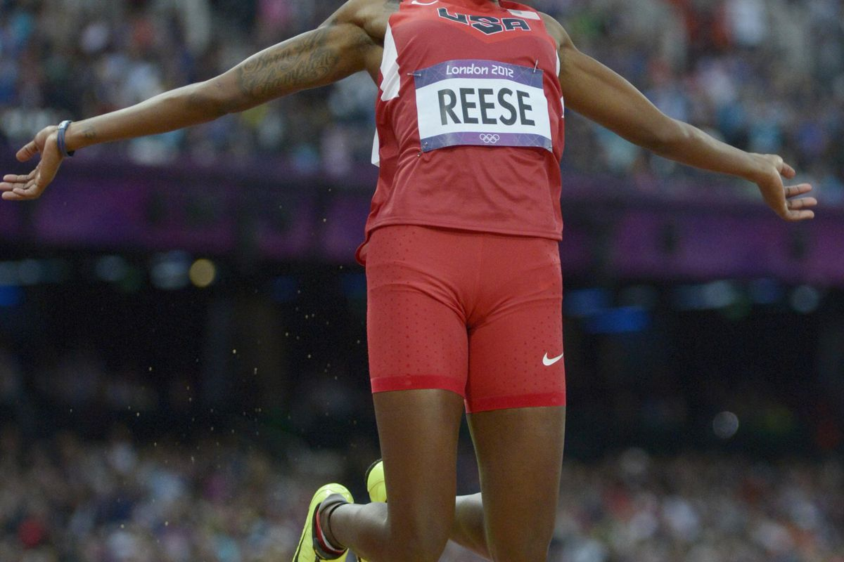 Aug 7, 2012; London, United Kingdom; Brittney Reese (USA) competes in the women's long jump qualifying during the 2012 London Olympic Games at Olympic Stadium. Mandatory Credit: Kirby Lee-USA TODAY Sports