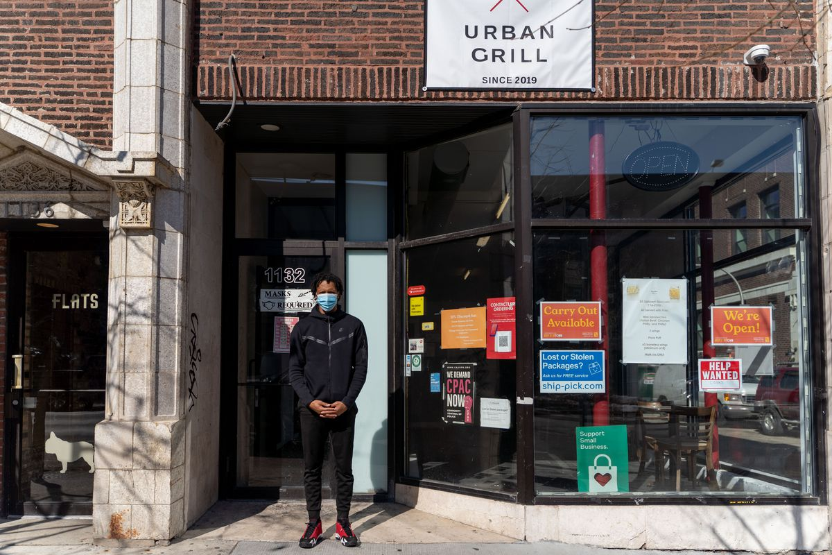 Marcus Ward, 32, owner of Urban Grill Chicago in Uptown, 1132 W. Wilson Ave., Wednesday afternoon, March 3, 2021.   Mengshin Lin/Sun-Times
