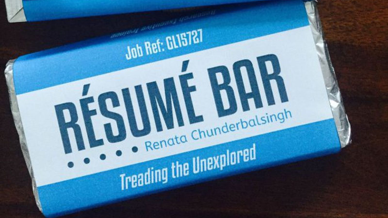 resume Resume Bar worlds greatest job candidate submits her resume on a chocolate bar wrapper eater