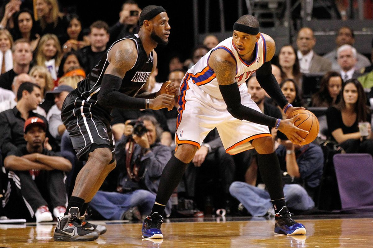 MIAMI, FL - FEBRUARY 23:  LeBron James #6 of the Miami Heat guards Carmelo Anthony #7 of the New York Knicks during a game at American Airlines Arena on February 23, 2012 in Miami, Florida. (Photo by Mike Ehrmann/Getty Images)