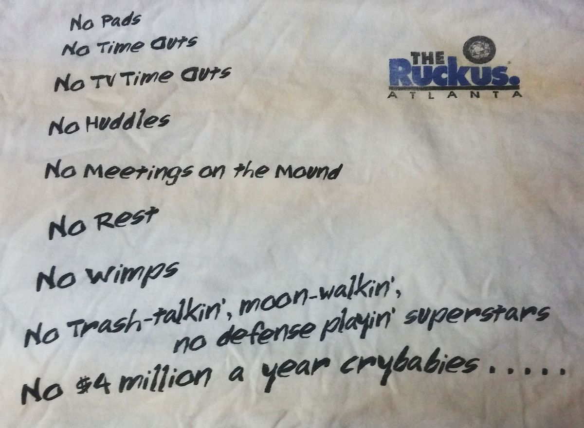 Front of a Ruckus t-shirt sold at the opening game
