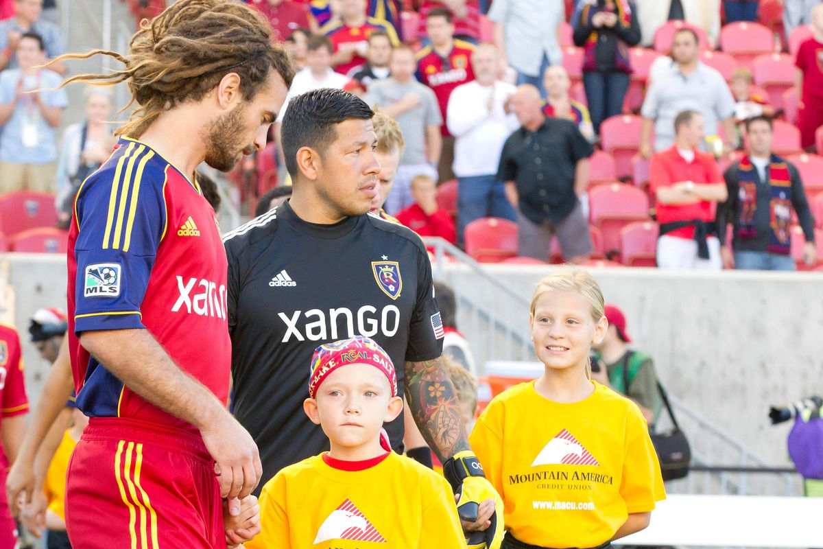 Kyle Beckerman, Nick Rimando, Joao Plata and an unknown player
