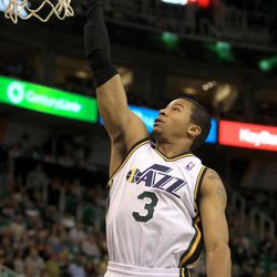 The Utah Jazz's Trey Burke shoots the ball during a basketball game against the L.A. Clippers at the EnergySolutions Arena in Salt Lake City on Saturday, Oct. 12, 2013.