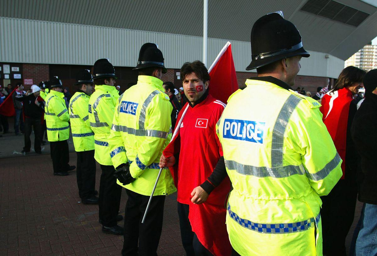 Police presence around the stadium