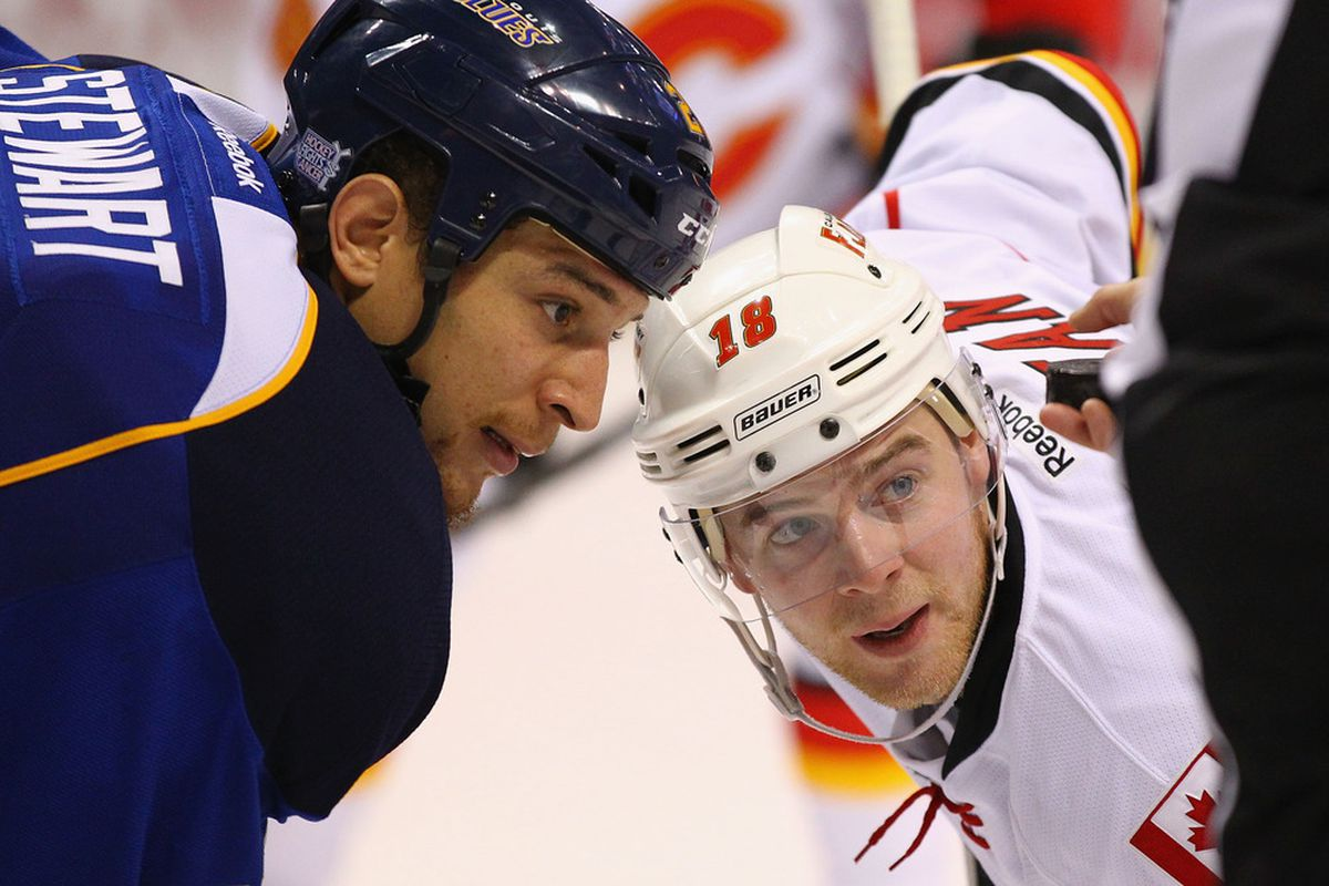 ST. LOUIS, MO - OCTOBER 10: Chris Stewart #25 of the St. Louis Blues and Matt Stajan #18 of the Calgary Flames line up for a face-off at the Scottrade Center  on October 10, 2011 in St. Louis, Missouri.  (Photo by Dilip Vishwanat/Getty Images)