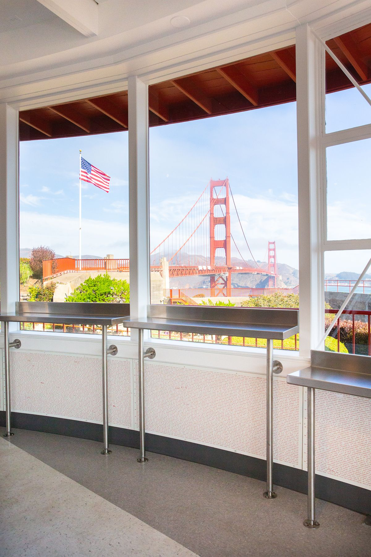 A view of the Golden Gate Bridge from inside Equator Coffees at Round House Cafe