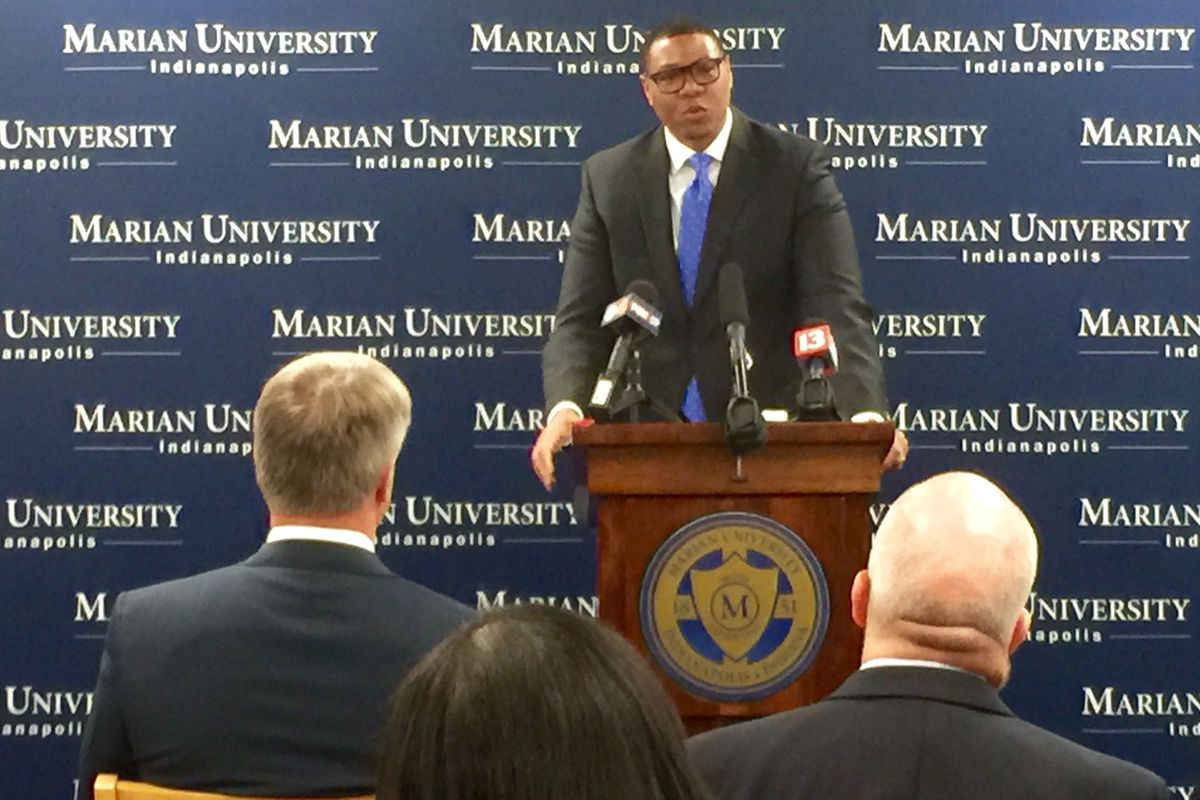 IPS Superintendent Lewis Ferebee speaks about a partnership with Marian University during a press conference today at Harshman Middle School.
