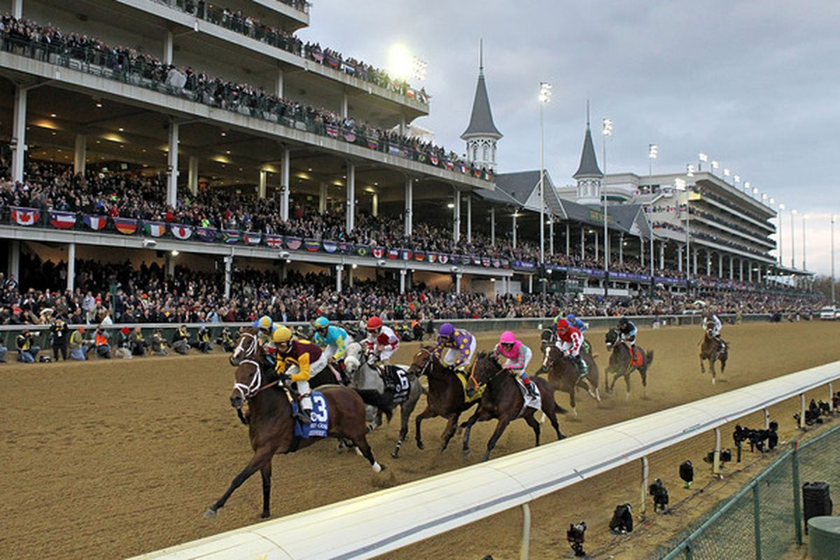 LOUISVILLE KY - NOVEMBER 05: The field runs past the grandstand in the Juvenile Fillies during the Breeders' Cup World Championships at Churchill Downs on November 5th, 2010 in Louisville, Kentucky.  (Photo by Andy Lyons/Getty Images)