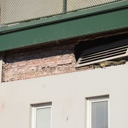 11:12 a.m. Closeup view of the brickwork exposed, in front of the ballpark -