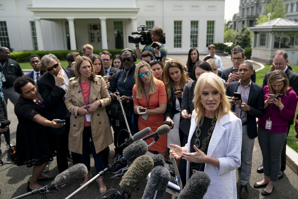 Kellyanne Conway speaks with reporters outside the White House after the Mueller report was released in April 2019.
