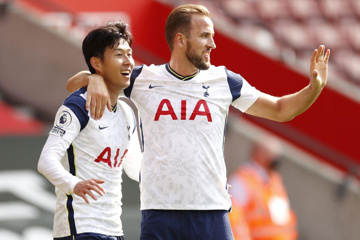 Heung-Min Son celebrates with Harry Kane - Tottenham Hotspur - Premier League