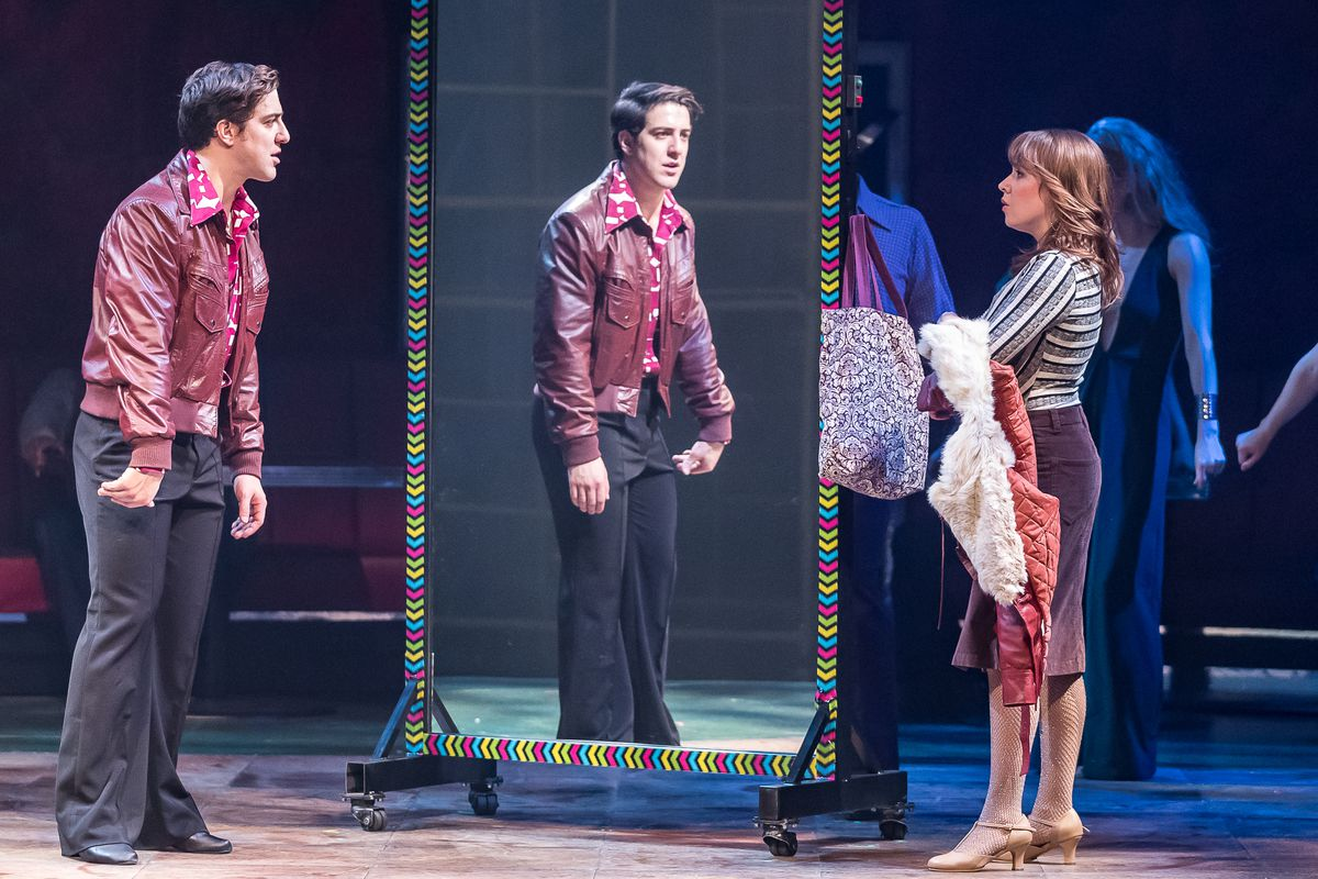 """Adrian Agular plays Tony Manero and Landree Fleming plays Annette in the Drury Lane Theatre production of """"Saturday Night Fever."""" (Photo: Brett Beiner)"""
