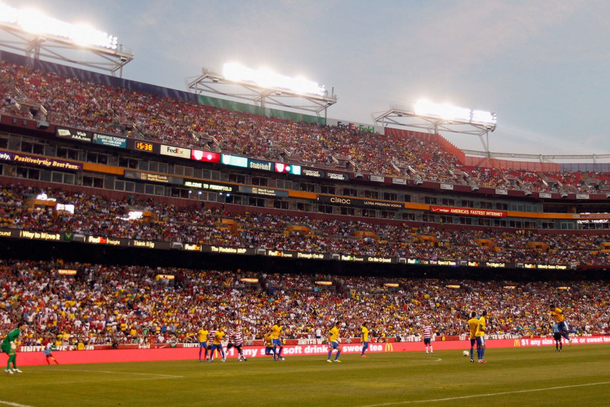 It's a USMNT game at FedExField, the closest mashup I could get for tonight's two games.