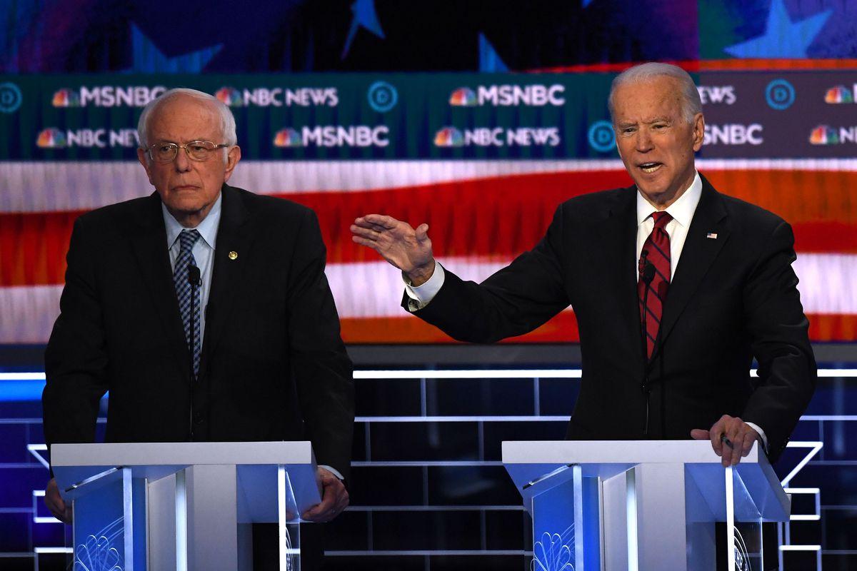 Biden and Sanders onstage